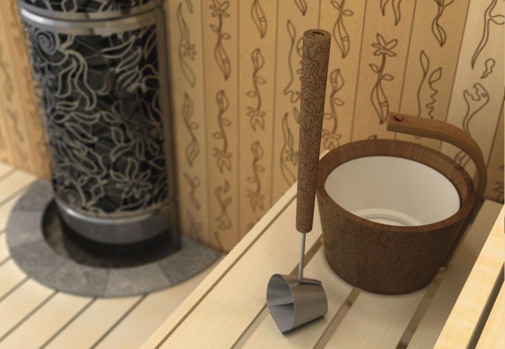cebrzyk drewniany do sauny Sawo zkolekcji dragonfire kolor drewna jasny