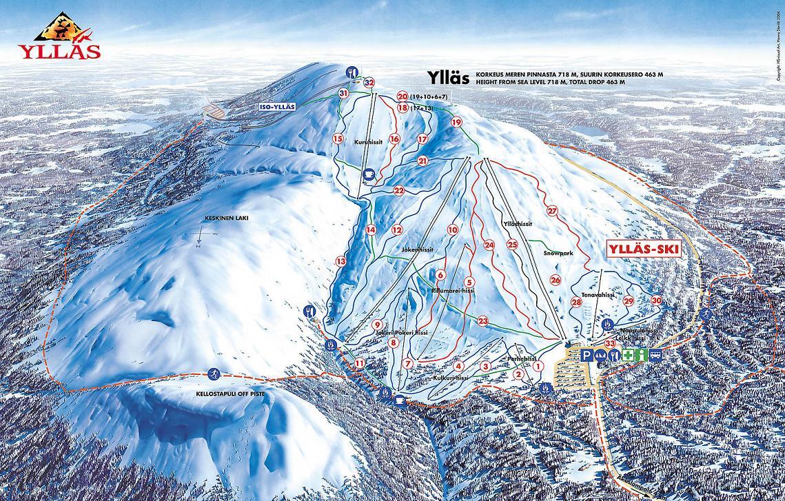 mapa ośrodka narciarskiego wYllas wFinlandii